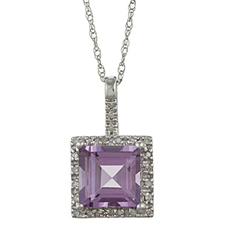 10k White Gold 2.6cttw Square Amethyst and Diamond Pendant ...