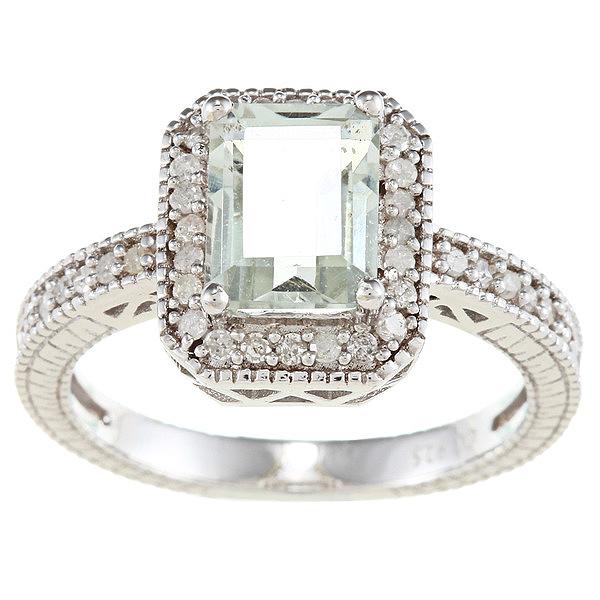 sterling silver vintage style emerald cut green amethyst