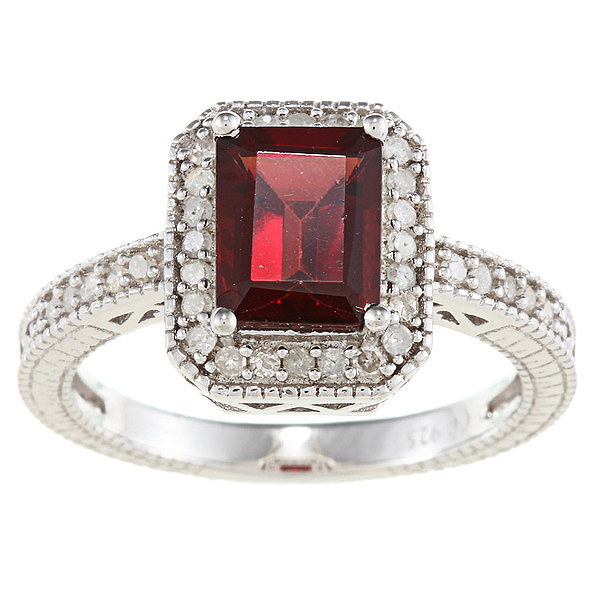 sterling silver vintage style emerald cut garnet and