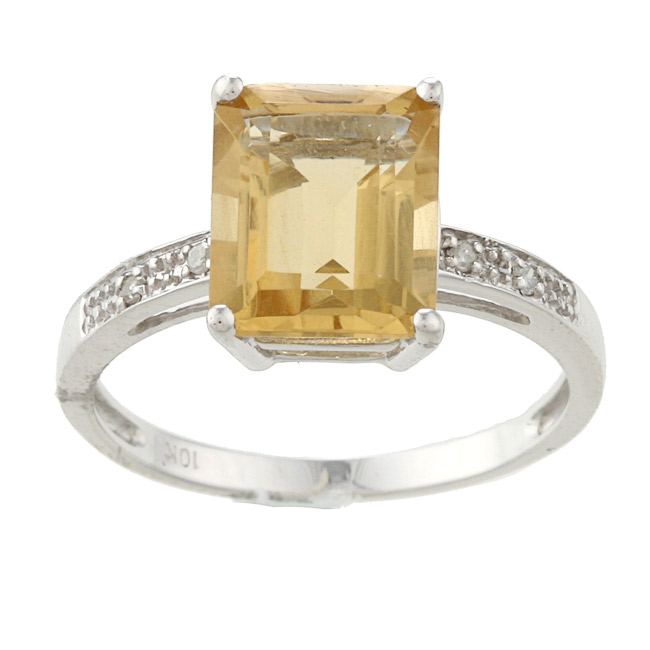 10k white gold emerald cut citrine and ring