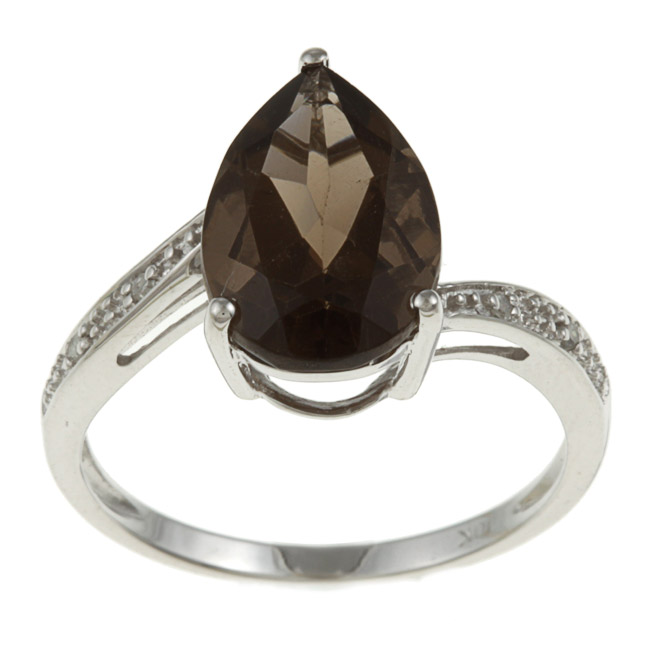 Designer-Diamonds.net White Gold Pear Smokey Topaz and Diamond Ring - size 8 at Sears.com