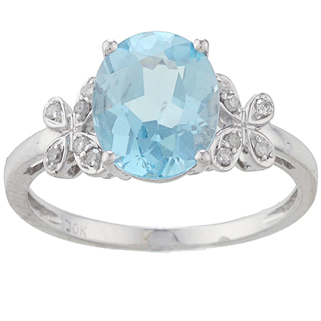 Designer-Diamonds.net White Gold Oval Blue Topaz and Diamond Ring (1/10 TDW)- size 8 at Sears.com