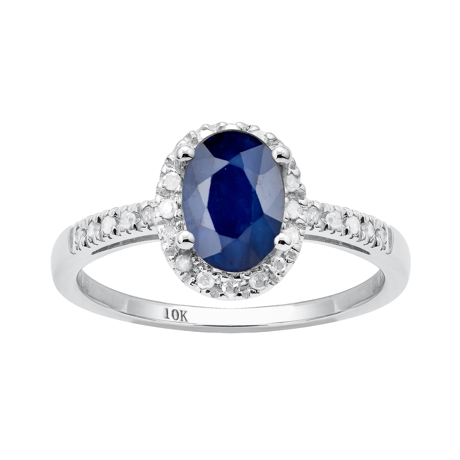 10k white gold genuine blue sapphire and ring 1 8