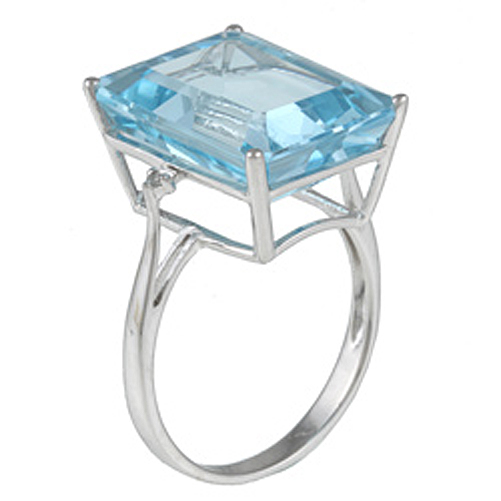 10k white gold emerald cut large blue topaz and