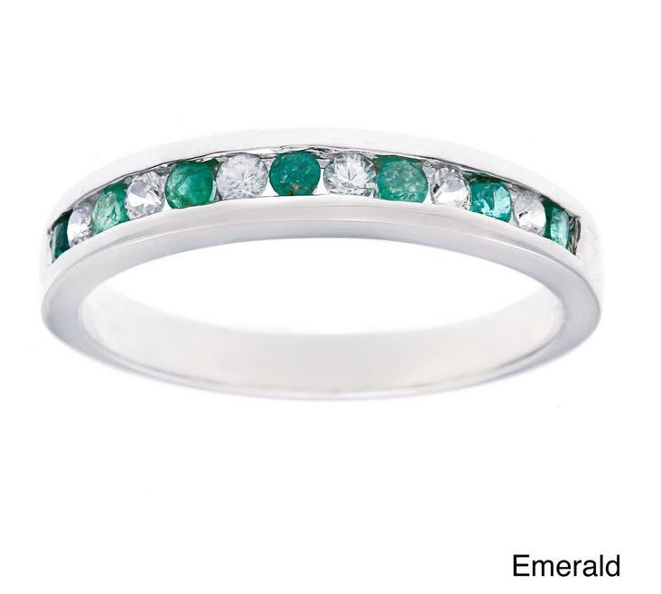 white gold 1 2ct genuine emerald anniversary wedding band