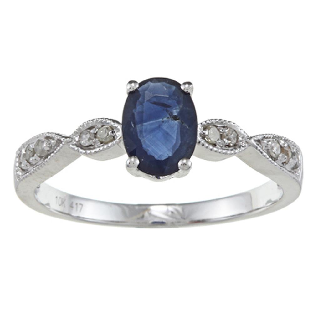 10k white gold genuine blue sapphire and diamond ring 1. Black Bedroom Furniture Sets. Home Design Ideas