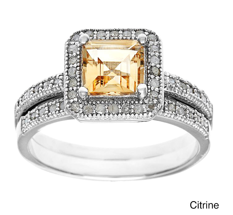 1 80ct princess cut citrine and pave halo ring set