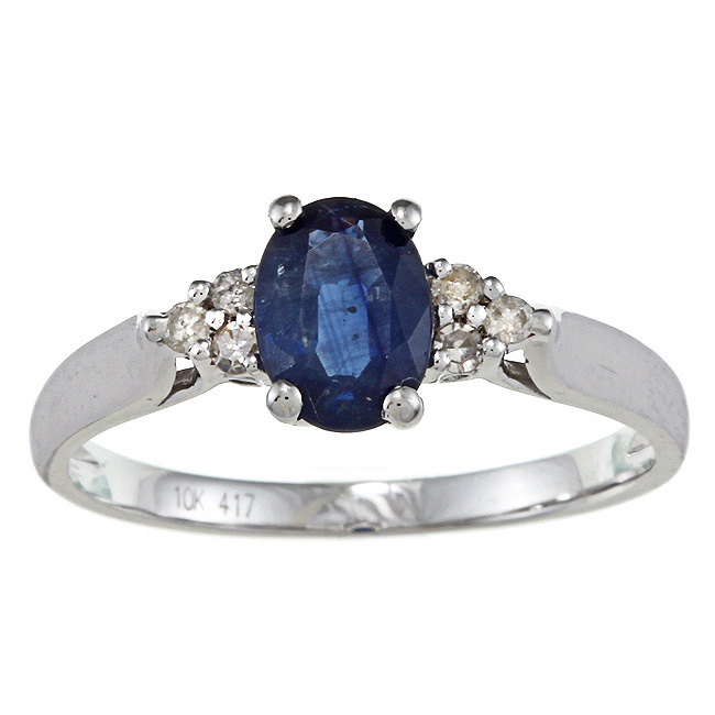 10k white gold genuine blue sapphire and diamond ring 1 8. Black Bedroom Furniture Sets. Home Design Ideas