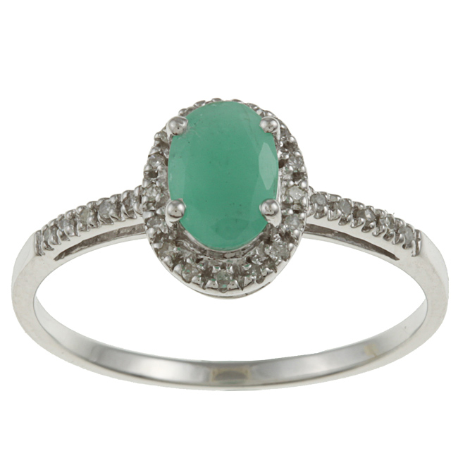 10k White Gold Genuine Emerald and Diamond Ring 1 8 TDW