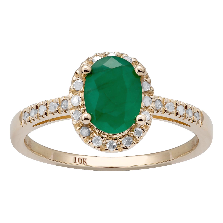 G-H, I1-I2 10k Yellow Gold Oval 5.20ct Garnet and Diamond Halo Ring