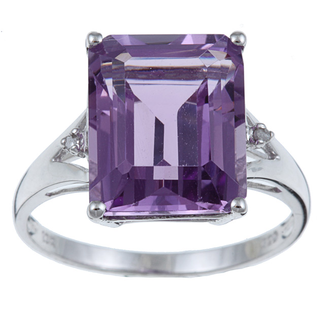 10k White Gold Emerald Cut Amethyst and Diamond Ring