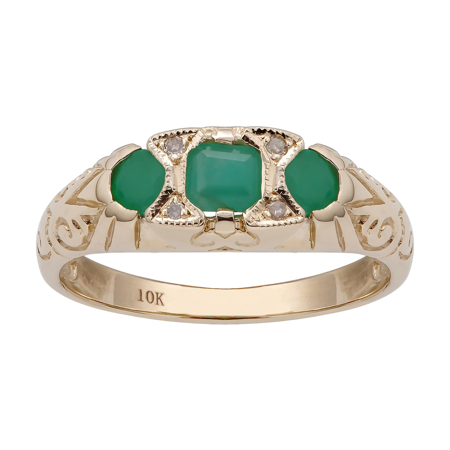 10k Yellow Gold Vintage Style Genuine Emerald and Diamond Ring size 6-10