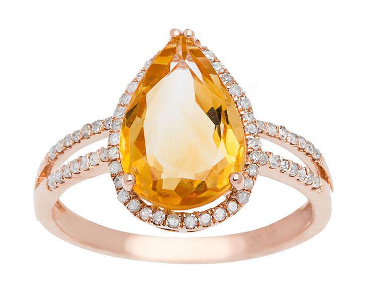 10k or Rose 3ct Ovale Citrine et Diamant Pavé Bague Du Halo