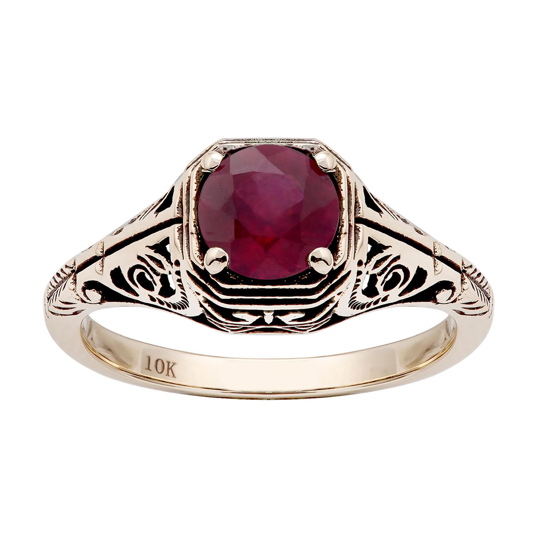 e0b8feb7c 10k Yellow Gold Vintage Style Genuine Round Ruby Filigree Ring   eBay