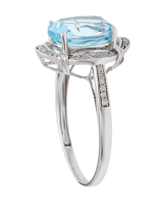 Yellow Gold 3.33ct Oval Blue Topaz and Pave Halo Diamond Ring