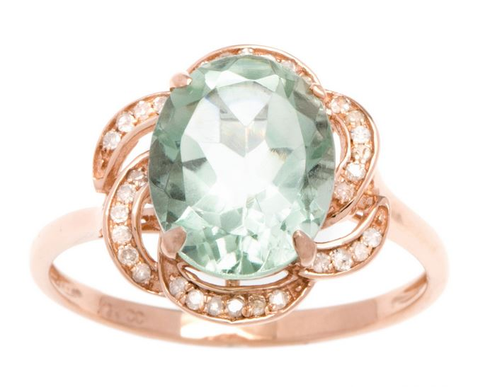 6ec28a328a235 Details about 10k Rose Gold 3.16ct Oval Green Amethyst and Pave Curved Halo  Diamond Ring