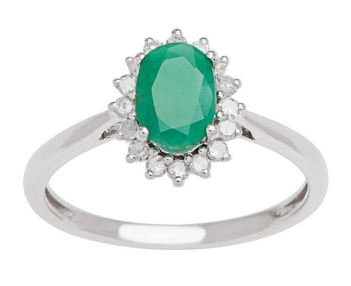 G-H, I1-I2 White Gold 1.20ct Genuine Sapphire and Halo Diamond Ring