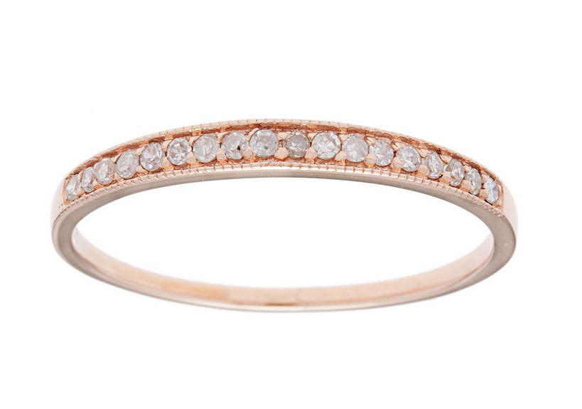 G-H, I1-I2 10k Rose Gold 1//4ct Bypass Pave Diamond Wedding Band