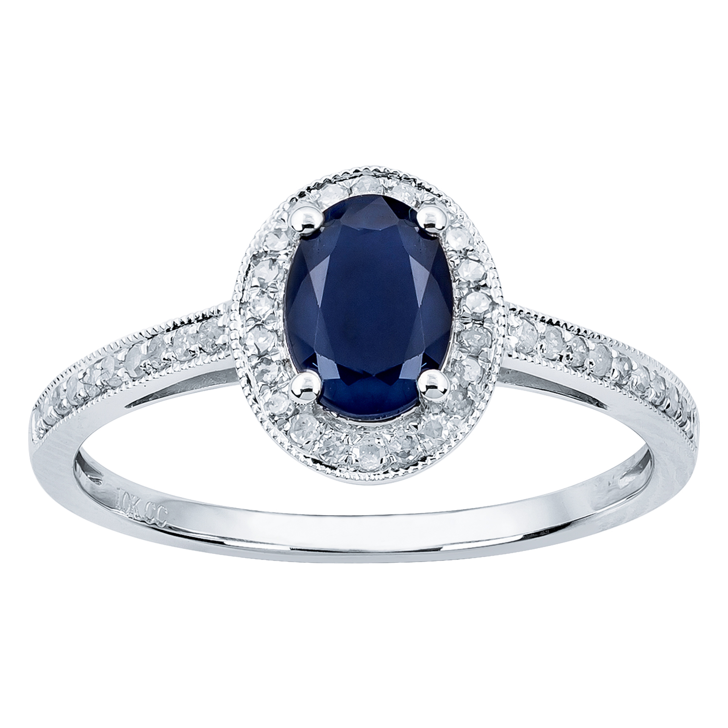 white gold genuine oval sapphire and diamond halo ring ebay. Black Bedroom Furniture Sets. Home Design Ideas