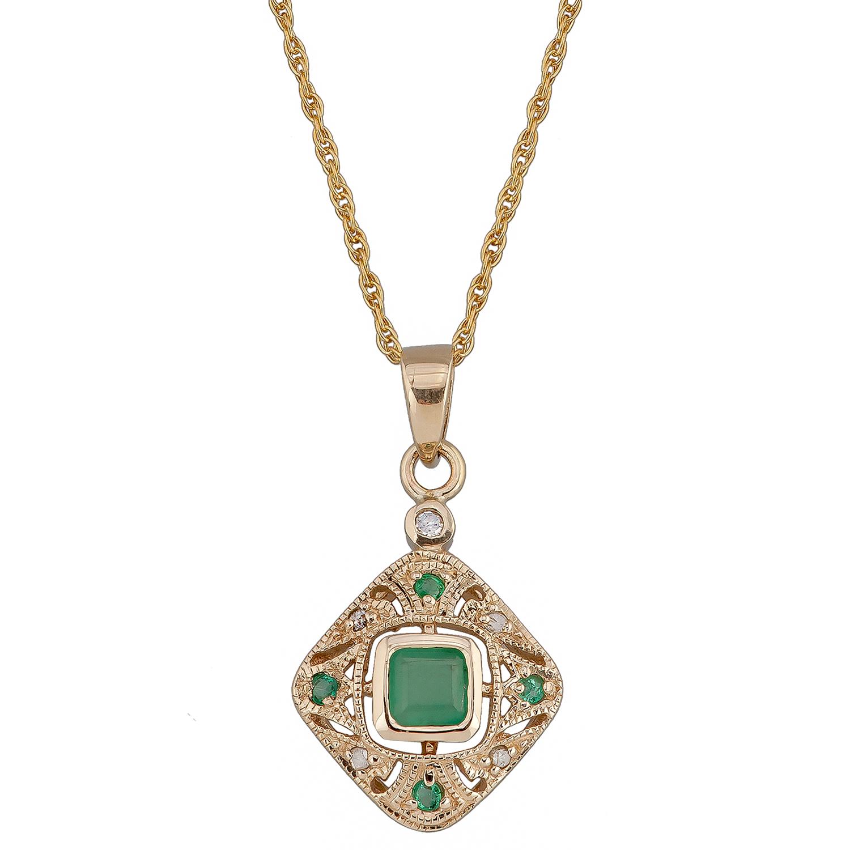 Emerald diamond pendant ebay 10k yellow gold vintage style emerald and diamond pendant necklace aloadofball Images
