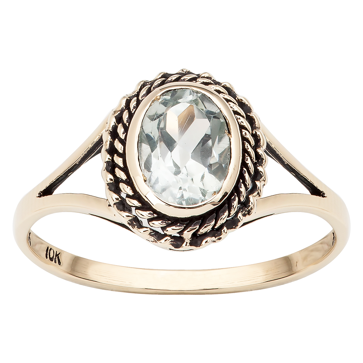 10k Yellow Gold Vintage Style Genuine Oval Green Amethyst