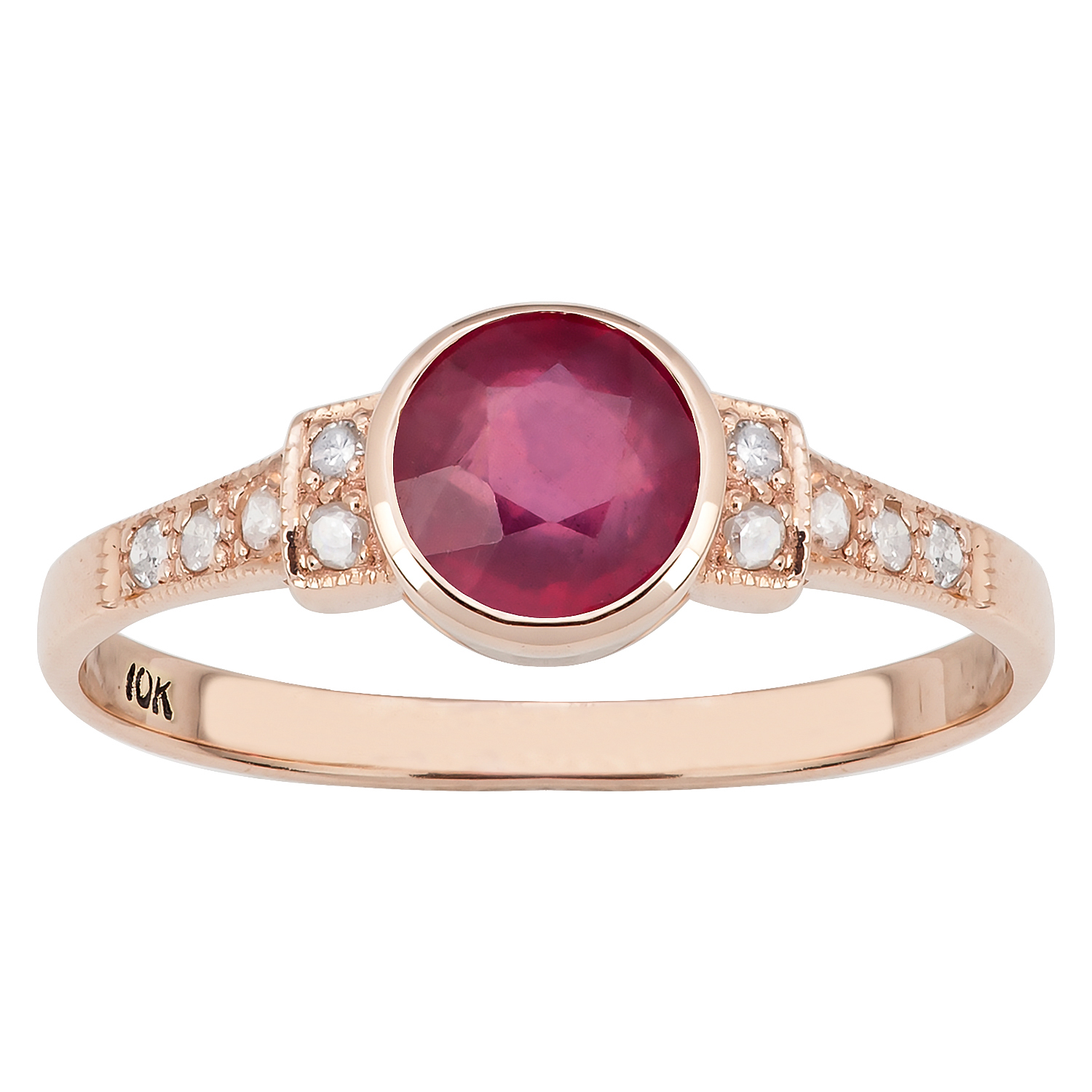 10k rose gold vintage style genuine round ruby and diamond ring ebay. Black Bedroom Furniture Sets. Home Design Ideas