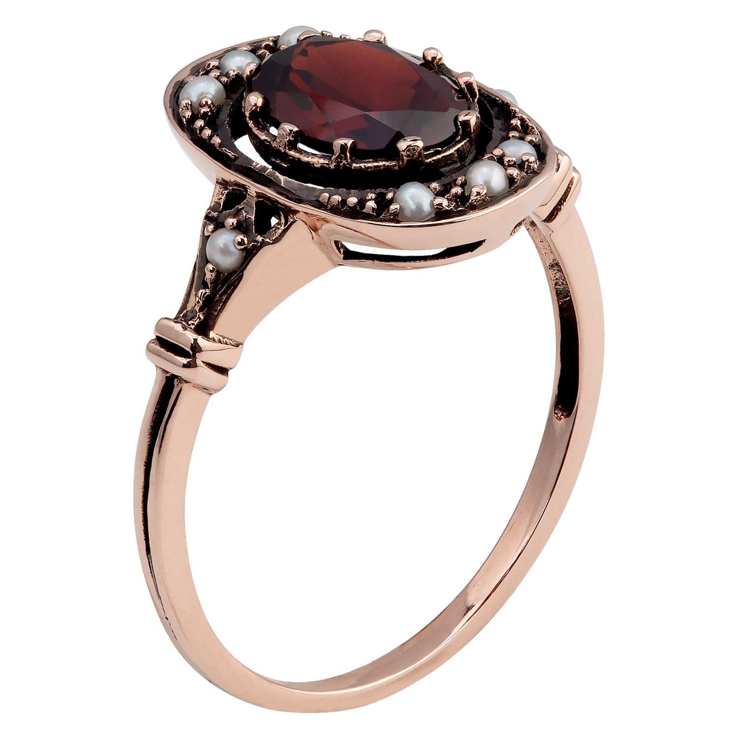 10k rose gold vintage style genuine garnet and pearl ring ebay. Black Bedroom Furniture Sets. Home Design Ideas