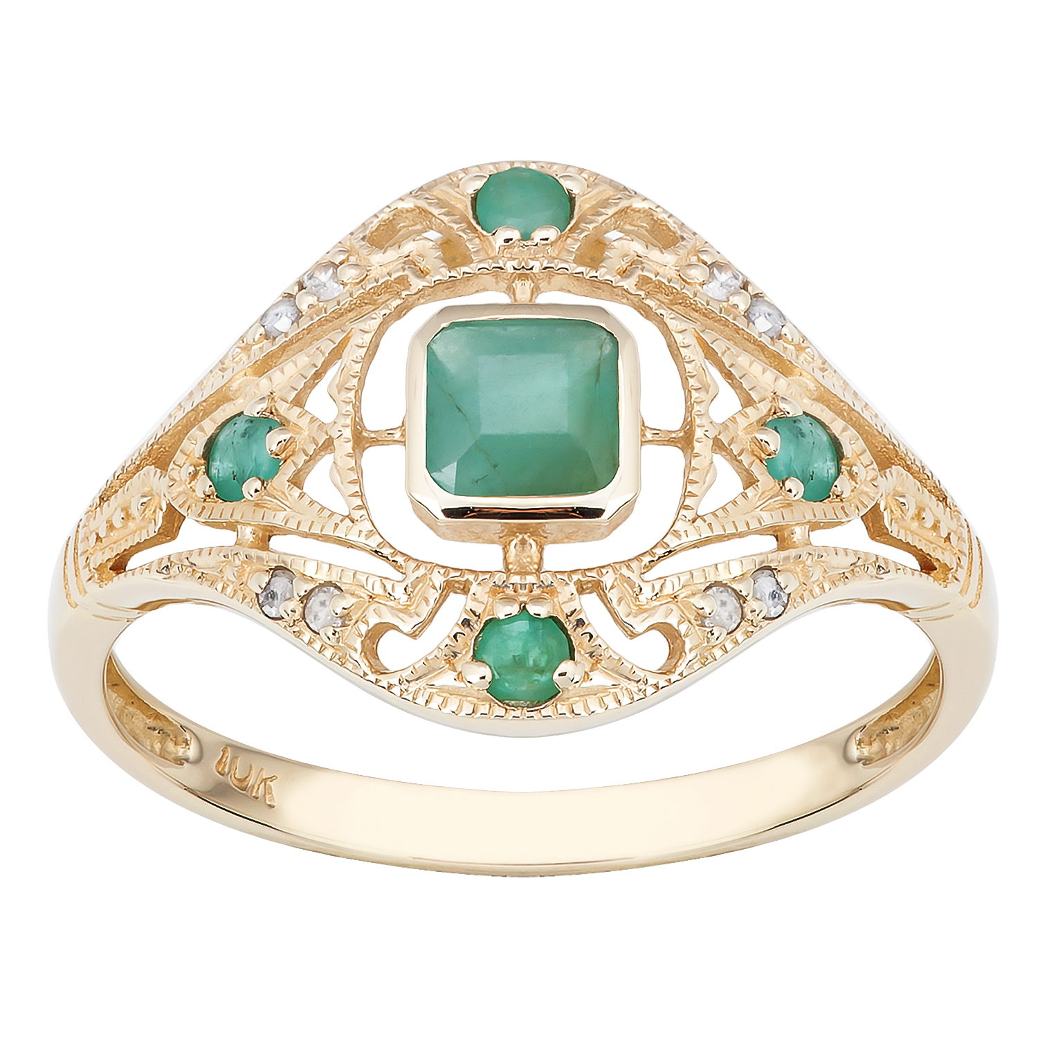 10k yellow gold vintage style genuine emerald and diamond for 10k gold jewelry