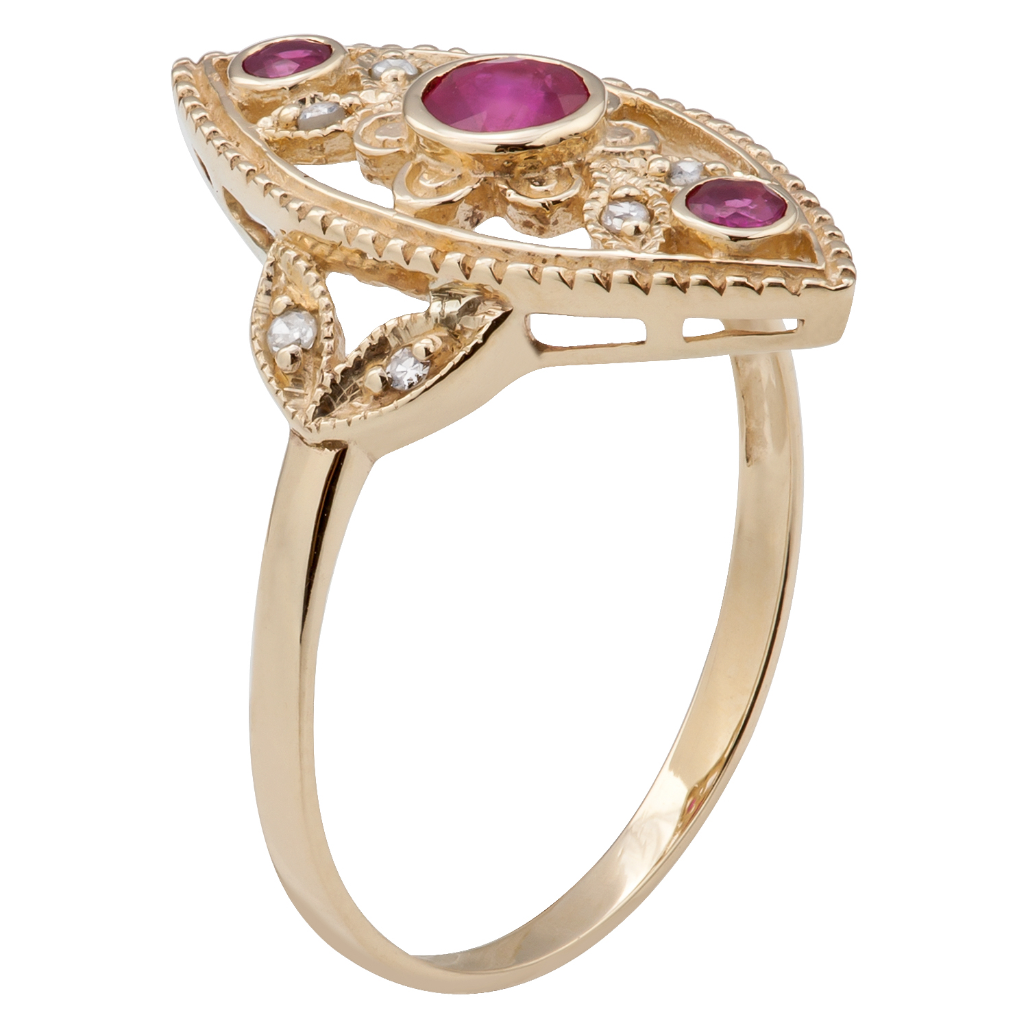 10k yellow gold vintage style genuine round ruby and diamond ring ebay. Black Bedroom Furniture Sets. Home Design Ideas